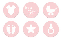 Its A Girl Baby Symbol Icon Bodysuit Feet Star Pacifier And Stroller Vector Illustration EPS10