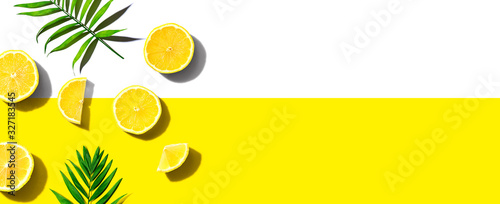 Fresh yellow lemons overhead view - flat lay - 327183545