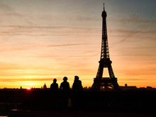 Eiffel Tower In Paris, Sunset Time