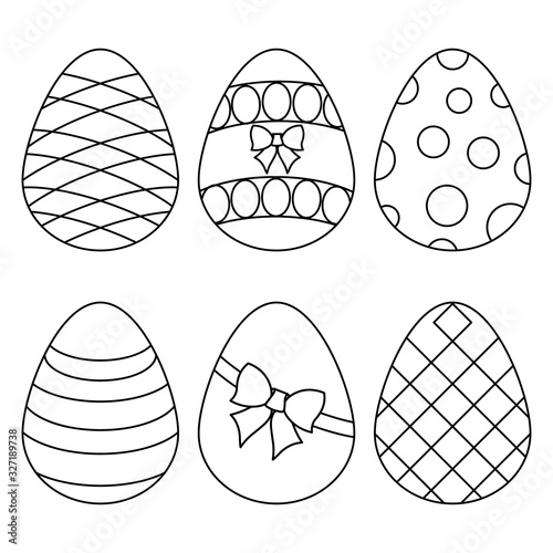Vector illustration of a set of Easter eggs Canvas Print