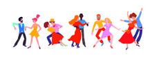 Set Of Men And Women Dancing S...