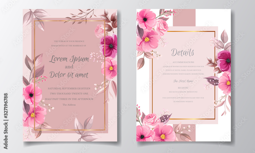 Romantic maroon wedding invitation card template set with rose cosmos flowers and leaves <span>plik: #327196788 | autor: mariadeta</span>