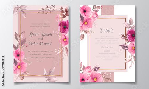 Romantic maroon wedding invitation card template set with rose  cosmos flowers Fototapet
