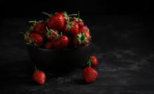 Strawberries In Bowl On Black ...