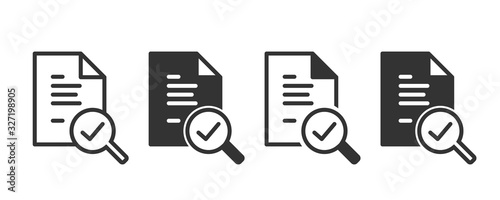 Audit icons in four different versions in a flat design Canvas Print