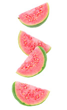 Isolated Guava Slices. Four Wedges Of Green Pink Fleshed Guava Fruits Isolated On White Background With Clipping Path