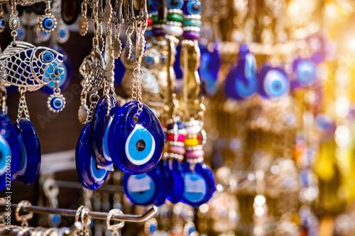 Beatiful nazars, eye shaped amulets in open market at local bazaar in Petra, Jor Canvas Print