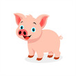 Pink and happy pig on a white background.