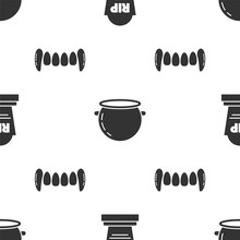 Set Tombstone With RIP, Halloween Witch Cauldron And Vampire Teeth On Seamless Pattern. Vector
