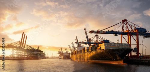 Fototapeta Hamburg Container Hafen