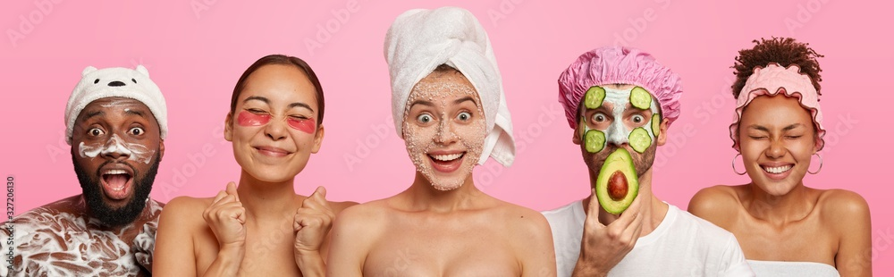 Fototapeta Collage of five different people have hygienic, beauty treatments, apply face masks, patches and wash body with shower gel, stand next to each other, isolated over pink background, visit cosmetologist
