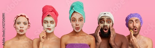 Canvastavla Shocked women and men of different races wear applied face masks, have beauty tr