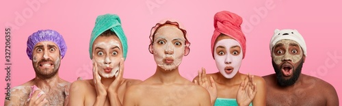 Obraz na plátně Collage shot of emotional people wear facial masks for having healthy skin and complexion, look surprisingly at camera, wash body, isolated on pink background