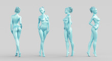 Silhouette Woman, 4 Sides, Body Model Naked, 3d Rendering