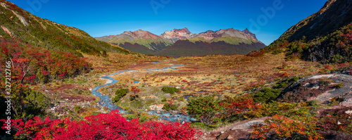 Panoramic view over magical austral forests, peat bogs and high mountains in Tie Canvas Print