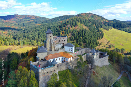 Aerial view of castle in Stara Lubovna in Slovakia