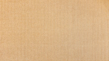Paper Cardboard Background. Natural Corrugated Carton Sheet. Kraft Cardboard Texture With Vertical Stripes.