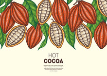 Cocoa Beans Vector Illustration. Cocoa Pods Sketch. Chocolate Beans. Vintage Design. Hand Drawn Illustration.