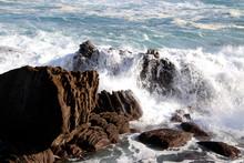 Wave Breaking In The Shore Of San Sebastian