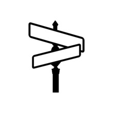 Empty Street Sign Board Icon Isolated On White Background