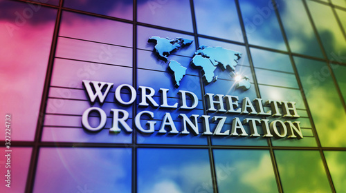 World Health Organization building with glass wall and mirrored building