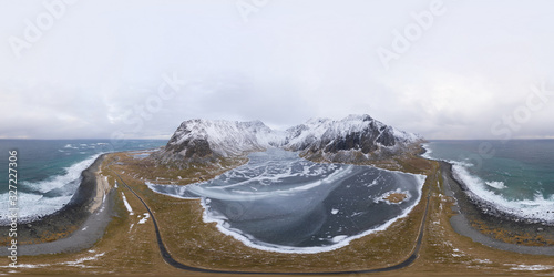 Fototapeta 360 panorama by 180 degrees angle seamless panorama of aerial view of white snow mountain in Lofoten islands, Nordland county, Norway, Europe. Hills and trees, nature landscape in winter season. obraz