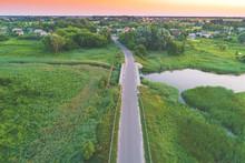 Summer Rural Landscape. Bird's-eye. The Bridge Over The River Near The Village