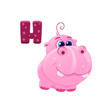 Vector Cute Pink Hippo With Big Blue Eyes Volume Icon Child Alphabet, African Animal From Zoo Isolated On White, Print For T-shirt, Funny Sticker  Hippopotamus Cub Eps 10 Letter H Abc For Kids