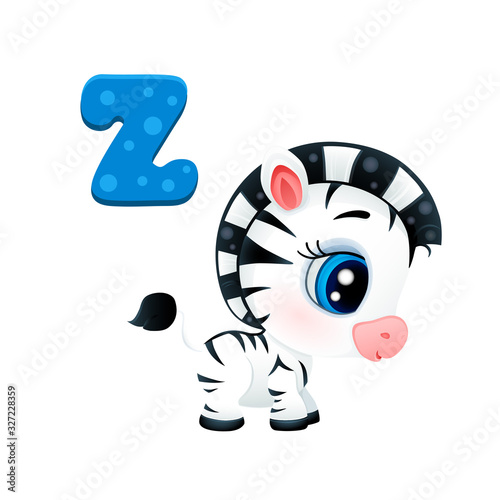 vector icon of cute african zebra baby black and white horse isolated on white b Wallpaper Mural