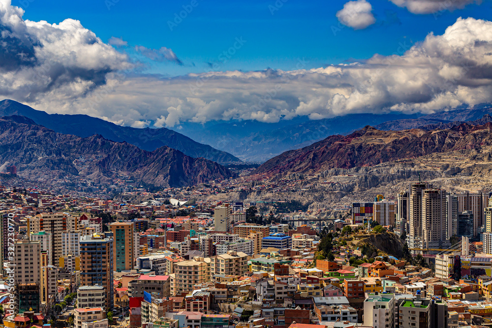 Fototapeta Bolivia. La Paz, national capital of Bolivia. Skyline of the city from