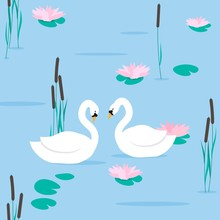 Couple White Swans On Pond Next To Pink Water Lily Flowers And Cattail Plants, Seamless Vector Illustration.
