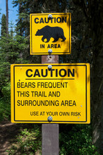 Bear Warning Signs In British Columbia, Canada