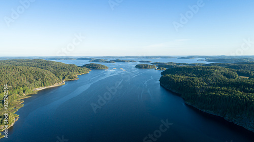 Fotografija Aerial view of Lake Ladoga on a summer sunny day.
