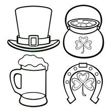 Linear Vector Set For St. Patrick's Day. Lepricon Hat, A Sponge With Gold Coins, A Horseshoe For Good Luck, A Mug Of Foamy Beer And A Three-leaf Clover - Vector Clip Art. Outline.