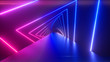 canvas print picture Glowing rotating neon triangles creating a tunnel, blue purple pink violet spectrum, fluorescent ultraviolet light, modern colorful lighting, 3d illustration