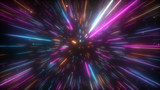Cosmic hyperspace background. Speed of light, neon glowing abstract rays and stars in motion. Moving through stars. 3d illustration