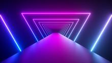 Glowing Rotating Neon Triangle...
