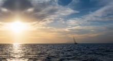 Silhouette Sail Boat Gliding I...