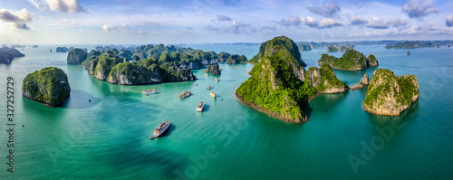 Leinwand Poster Aerial view Vung Vieng floating fishing village and rock island, Halong Bay, Vietnam, Southeast Asia