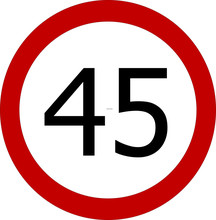 Speed Limit 45 Kmh Or 45 Mph Sign On White Background