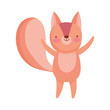 cute squirrel hands up animal cartoon character