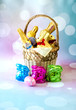 Fancy easter basket filled with chocolate bunnies