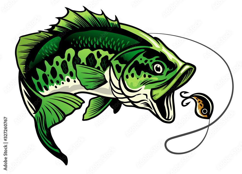 Fototapeta bass fish catcing the fishing lure