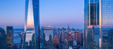 Fototapeta New York - New York City WTC in sunset, aerial photography