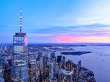 Fototapeta Nowy Jork - New York City Skyline and WTC with East River in sunset, aerial photography