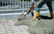 Worker Powering Cement In The ...