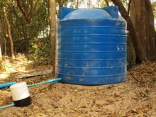 Dirty Blue Plastic Water Tank ...