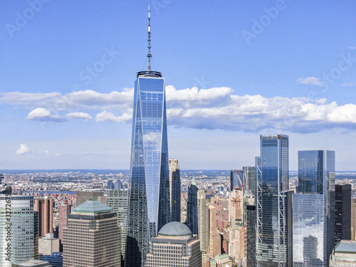 New york downtown with WTC and Brookfield Place in sunny day, aerial photography