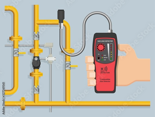 Fotografie, Obraz LPG NGV Gas natural leakage detector detection measurement tester industry resid