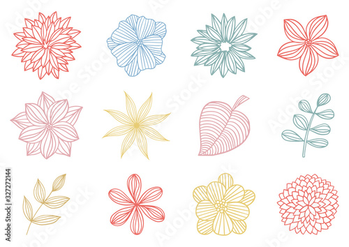 Foto 花と葉カラフルイラスト01